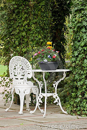 Wrought iron garden  table and chair
