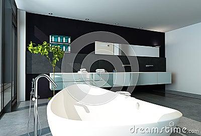 Współczesny Projekt łazienki Wnętrze W Czarnym Kolorze Zdjęcie Royalty Free - Obraz: 34615935
