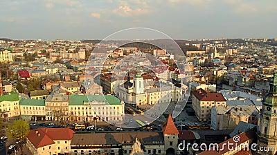 Wspaniały krajobraz miasta starego miasta ukraińskiego zbiory wideo