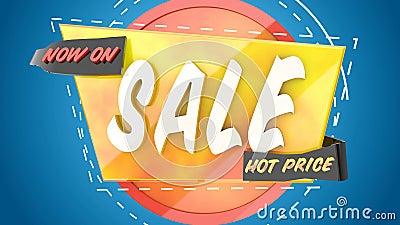 Wstęp do logo sprzedaży, jasna dynamiczna animacja sprzedaży 3d w reklamie z rabatem ilustracja wektor