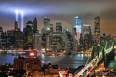 WTC 9/11 Tribute In Light Editorial Stock Image