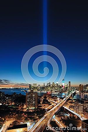 WTC 9/11 Tribute In Light Aerial Editorial Photo