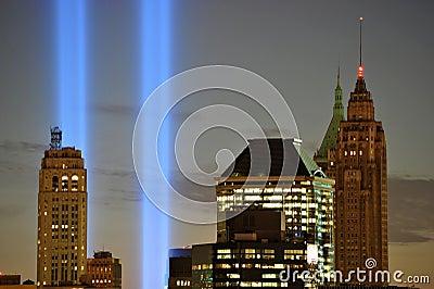 WTC 9/11 Tribute In Light Closeup Editorial Photo