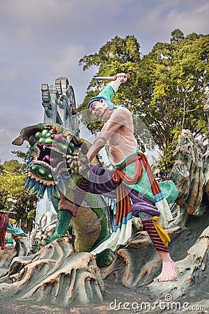 Wu sång som dräpar Tiger Statue på hagtornmedeltalvillan Redaktionell Bild
