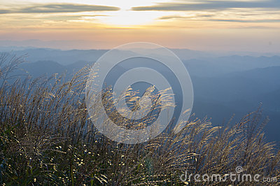 Wugong mountains national park in sunset