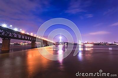 Wuhan, China at night