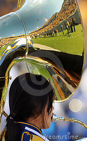 WVU Band tuba - reflecting crowd Editorial Stock Photo