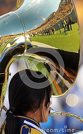 WVU Band tuba - reflecting crowd Editorial Stock Photo