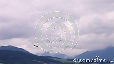 WWII双翼飞机在天空中 影视素材