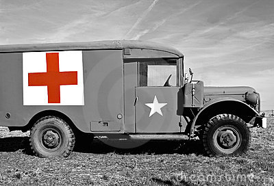 WWII Medic Jeep - Selective Coloring Editorial Image