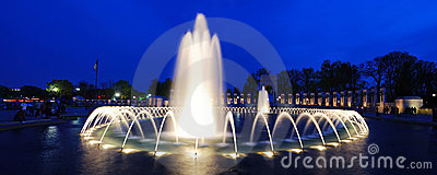 WWII memorial fountain panorama, Washington DC Editorial Stock Image