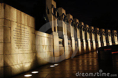 WWII Monument at night in Washington DC