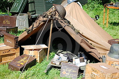 WWII Tent and ammo boxes