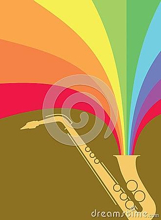 Wybuchu jazzowy tęczy saksofon