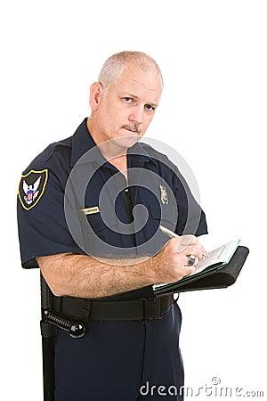 Wyliczenie piśmie policjanta