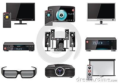 Wyposażenia ikony setu wektoru wideo