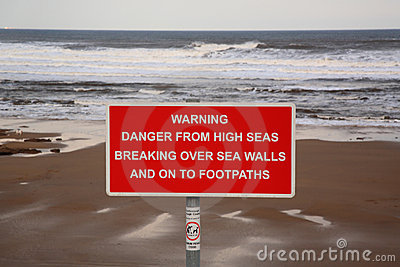 Wysokich morzy szyldowy ostrzeżenie