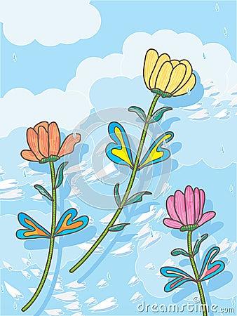 Wysyła kwiaty niebo
