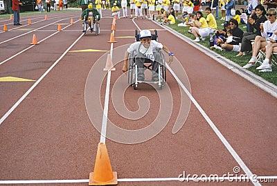 Wózek inwalidzki Olimpiad Specjalnych atleta Fotografia Editorial
