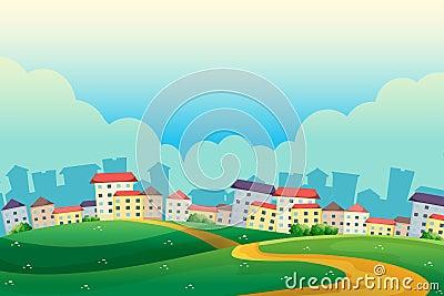 Wzgórza blisko wioski