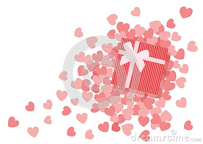 Heart pink design and gifl box design Vector Illustration