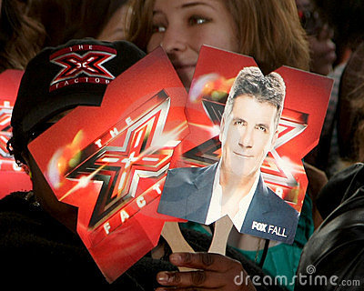 X-Factor Signs - atmosphere arriving at the X-Factor Premiere Screening Editorial Photography
