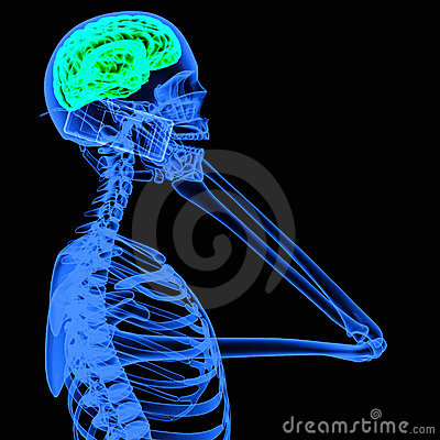 X-ray of a person using mobile phone