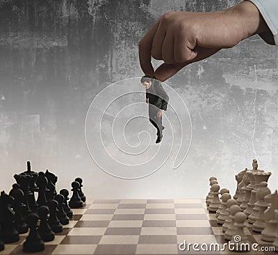 Xadrez e homem de negócios