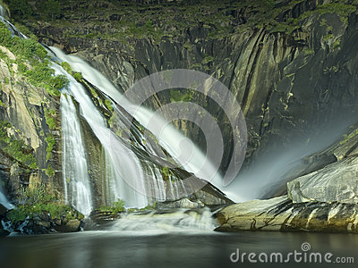 Xallas Waterfall in Ezaro at night