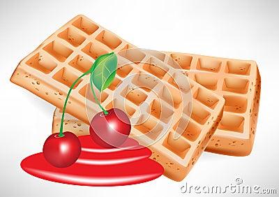 Xarope da cereja e waffle belga