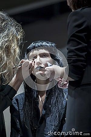 XAVI GARCIA SHOW AT COSMOBELLEZA 2014 Editorial Stock Image