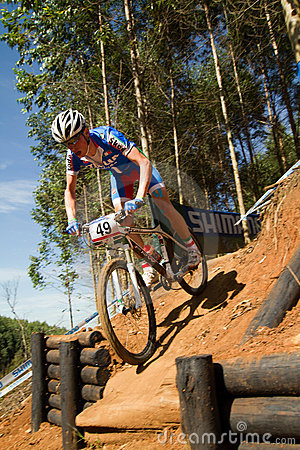 XCO Drop off at UCI MTB World Cup U23 Men Editorial Stock Image