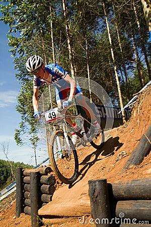 XCO Drop off at UCI MTB World Cup U23 Men Editorial Stock Image