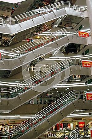 Xi an, China: Kaiyuan Shopping Mall Escalators Editorial Photo