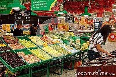 Xi an, Cina: Supermercato del mondo del Hong Fotografia Stock Editoriale