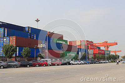 Xiamen container terminal, china Editorial Stock Photo