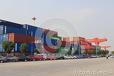 Xiamen container terminal, china Editorial Stock Photo