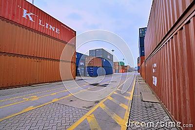 Xiamen container yard in Fujian, China Editorial Stock Image