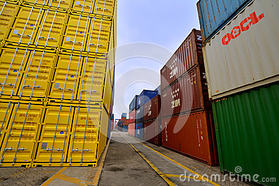 Xiamen container yard, Fujian, China Editorial Photography