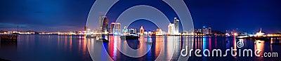 Xiamen island night scape panoramic view