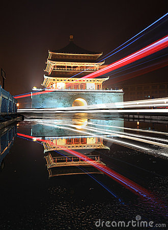 Free Xian Bell Tower In Night After Rain Royalty Free Stock Photo - 23972625