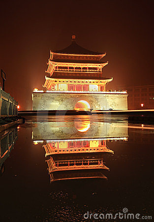 Xian bell tower in night after rain