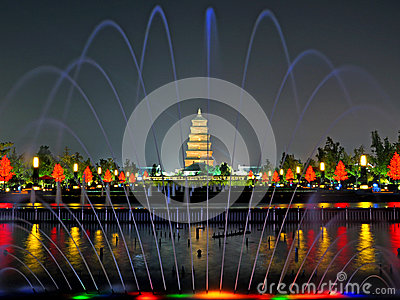 Xian Chinese wild goose pagoda Editorial Stock Photo