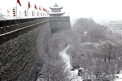 Xian(xi an)city wall in snow