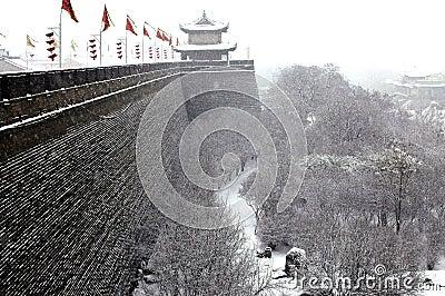 Xian(xi an)city wall in snow