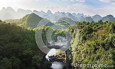 Xiangqiao cave panoramic view, Guangxi, China