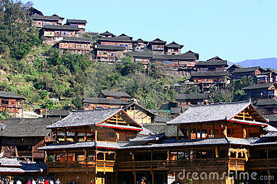 Xijiang Miao village in China s largest Editorial Stock Photo