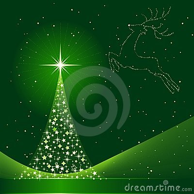 Xmas background with Christmas tree and reindeer