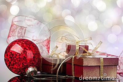 Xmas ball and gift box