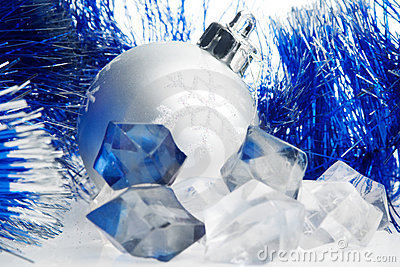 Xmas ball and ice cubes